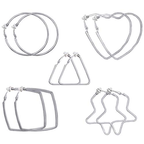 - XGALA 5 Pairs Silver Tone Different Shape Clip On Hoop Earrings For Women Non-Pierced Heart Star