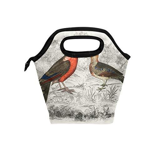 Vintage Drawing Partridge Bird Lunch Bag for Boys Girls Kids Zipper Insulated Lunch Box Bento Case for Men Women -