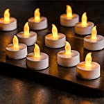 Vont 24 Pack Flameless LED Tea Light Candles, Realistic & Bright, Naturally Flickering, Battery Powered Candles, Unscented Tealights