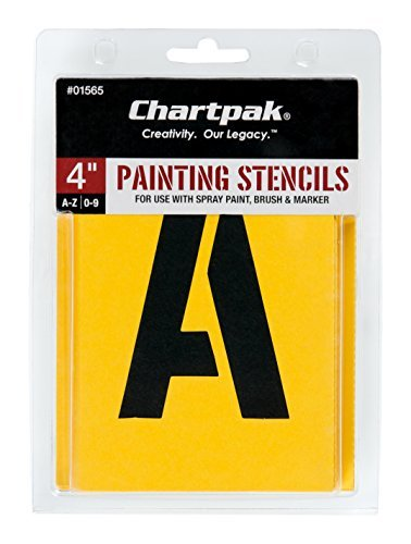 Chartpak Letter and Number Painting Stencils, A-Z and 0-9, 4 Inches H, 35 per Pack (01565) Punctuation Pencils