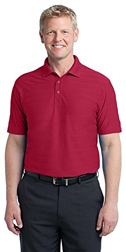 Port Authority Men's Horizontal Texture Polo, 2XL, Rich Red