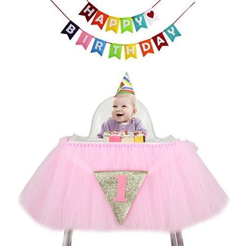1st Birthday Tutu Skirt for High Chair Decoration for Party Supplies Baby Pink