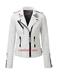 London Craze Women's Leather Jacket Stylish Motorcycle Biker Genuine Lambskin White