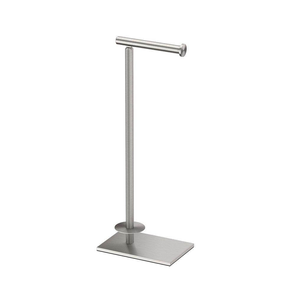 Gatco 1443SN Modern Square Base Toilet Paper Holder Stand with Storage, Satin Nickel, 21.13''H
