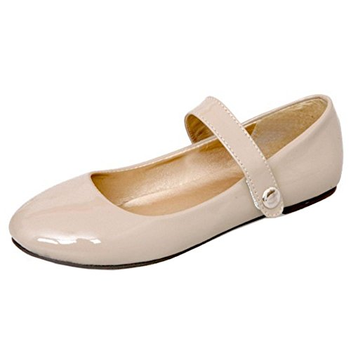 Girl Jane New Ballerina KemeKiss Girl Adorable apricot Big Little Strap Flat Velcro Mary Shoes qTv8E