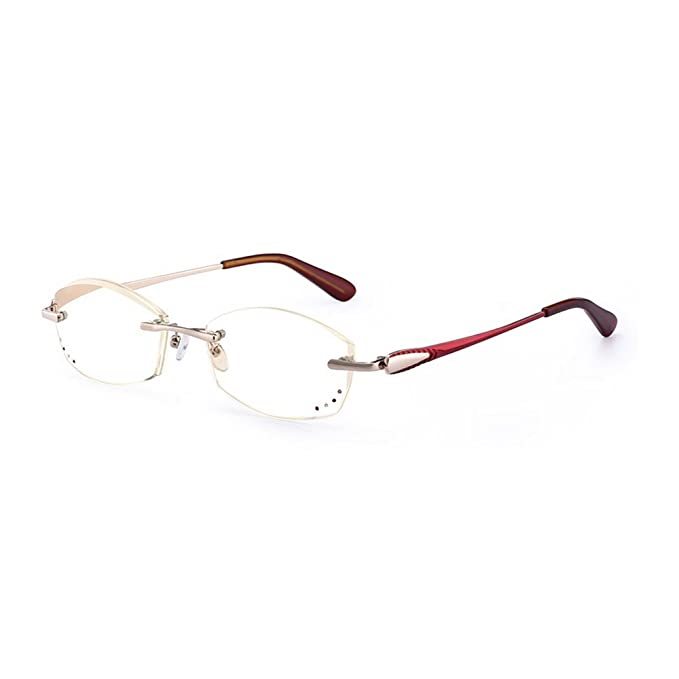 e2039a510d8f Amazon.com  MINCL Women Rimless Diamond Trimming Reading Glasses  Anti-Radiation Blue Light Blocking Eyewear (gold