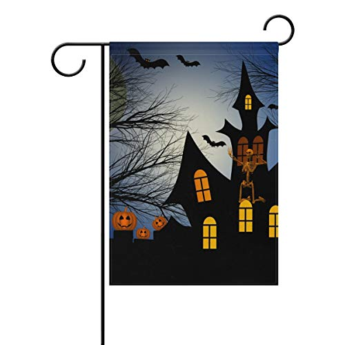 Thomas Eugene Happy-Halloween House Pumpkin Bat Castle Full Moon Garden Flag Vertical Double-Sided Printed Polyester(12 x 18 in & 28 x 40 in) ()