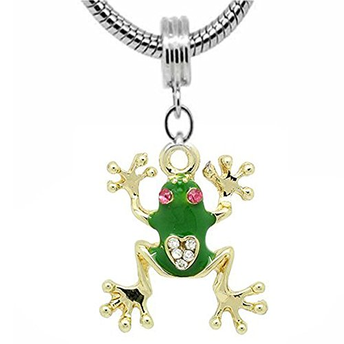 SEXY SPARKLES Frog Charm Dangle Bead for Snake Chain Charm Bracelet