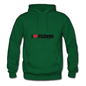 Ericsmith Women I Heart Fisheye Print Round-collar Funny Green Sweatshirts In X-large