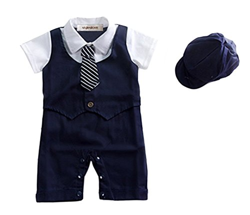 StylesILove Baby Boy Formal Wear Romper and Hat 2-piece (6-12 Months, Navy (Infant Boy Formal Wear)