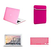 """Unik Case-4 in 1 13 Inch Rubberized Hard Case,Screen Portector,Sleeve Bag & Silicone Skin for Macbook 13"""" Air A1369/A1466 Shell Cover-Pink"""