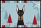 Caroline's Treasures Winter Holiday Doberman Indoor or Outdoor Mat, 18 by 27″, Multicolor For Sale