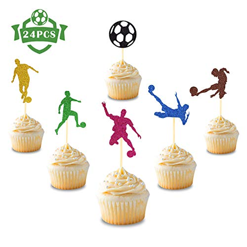 24 Pcs Soccer Ball Cupcake Toppers Football Sport Themed for Boys Girls Kids Baby Shower Birthday Party Supplies Glitter Cake Decorations]()