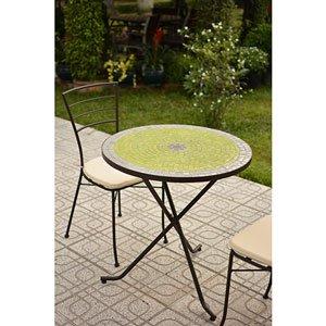 moneden - Juego de mobiliario de jardín de metal mesa en mosaicos ...