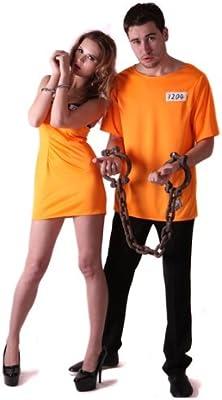 Generique - Disfraz de Pareja de prisioneros Naranja L: Amazon.es ...