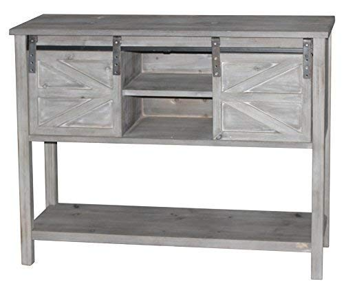 eHemco Antique Farmhouse Console Table with 2 Sliding Barn Doors and Shelf Storage Space in The Middle(Grey Color) ()