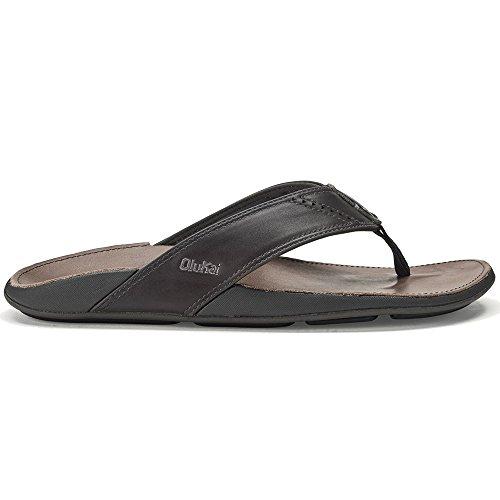 OLUKAI Men's NUI Sandals, Dark Shadow/Charcoal, 10