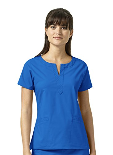 Vera Bradley Signature Collection Women's Linda Notch Neck Quilted Scrub Top- Royal- ()