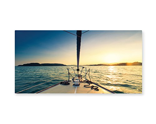 Lunarable Sailboat Nautical Wall Art, Nose of Yacht Sailing in The Sea at Sunset Distant Hills Seaside Sun, Gloss Aluminium Modern Metal Artwork for Wall Decor, 23.5 W X 11.6 L Inches, Blue Yellow