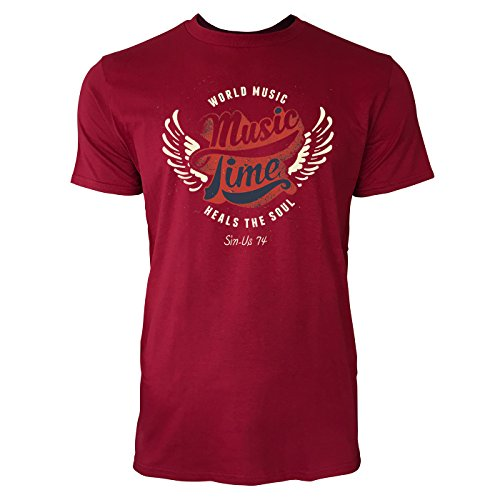 Sinus Art ® Herren T Shirt Music Time Heals The Soul ( Independence_Red ) Crewneck Tee with Frontartwork