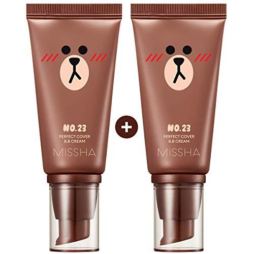 Missha M Perfect Cover BB Cream #23 [2PK] SPF 42 PA+++(50ml) (LINE FRIENDS Edition)-Lightweight, Multi-Function, High…