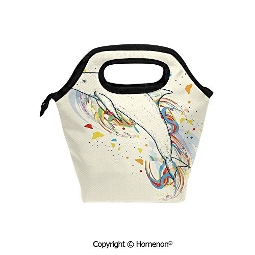 Insulated Neoprene Soft Lunch Bag Tote Handbag lunchbox,3d prited with Cute Dolphin Fish Figure with Rainbow Colors Adventure Ocean Animal,For School work Office Kids Lunch Box & Food Container (Best Bait For Dolphin Fish)