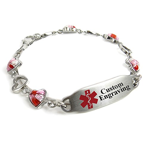 MyIDDr Free Engraving Medical Alert Bracelet - 5mm Steel & Glass Hearts - Red by My Identity Doctor