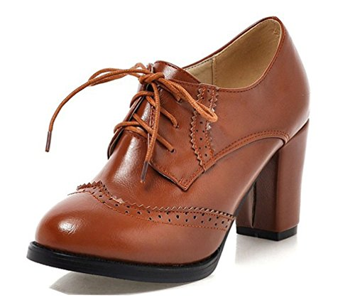 WAROFT Ladies Vintage Chunky Block High Heels Lace Up Brogue Shoes Round Toe Fashion Women Dress Boots Size 3-8.5 Brown