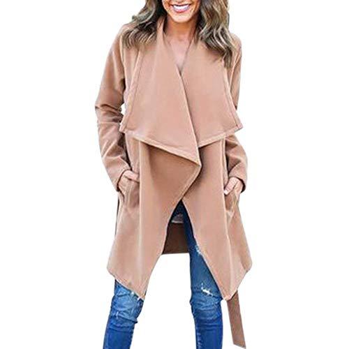 Monocromo Donna Outwear Semplice Relaxed Glamorous Lunghe Cintura Tendenza Maniche Khaki Outerwear Inclusa Autunno Giubotto Giaccone Lunga Moda Elegante Casual Invernali FvwgAqzg