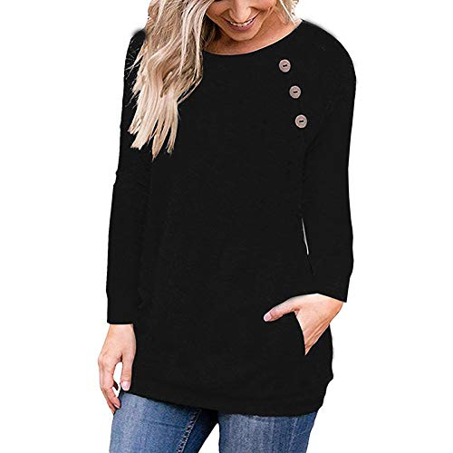Long Sleeve T Shirt Crew Neck Button Casual Blouse