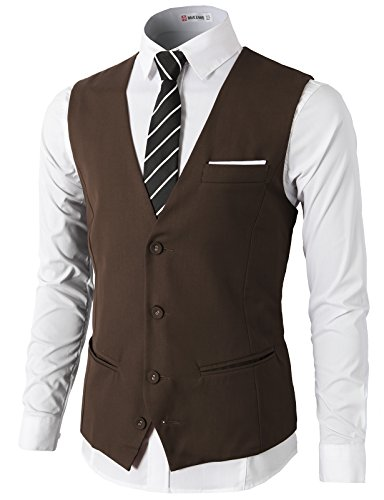 - H2H Mens Formal Slim Fit Premium Business Dress Suit 4 Button Vests with Pocket Brown US S/Asia M (CMOV030)