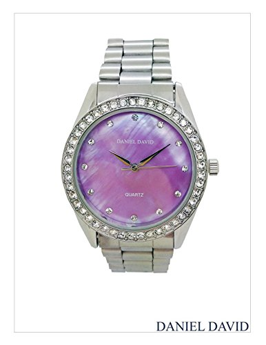 Women's Watches by Daniel David - Elegant Violet Mother-Of-Pearl Silver Bracelet Watch - Make Every Second Count - DD11002 (Mother Of Pearl Womans Watch)