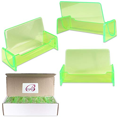 Beauticom 12 Pieces - Clear Color Plastic Business Card Holder Display Desktop Countertop (Style # 3) (Clear Green)