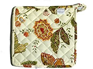 Butterfly Potholder Green Leaves Flowers Butterflies Country Primitive Home D?cor - Set of 2