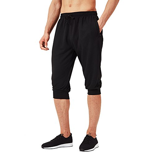 3/4 Yoga Pant - Naviskin Men's 3/4 Workout Training Jogger Capri Pants Athletic Gym Running Yoga Shorts Zipper Pockets Black Size XL