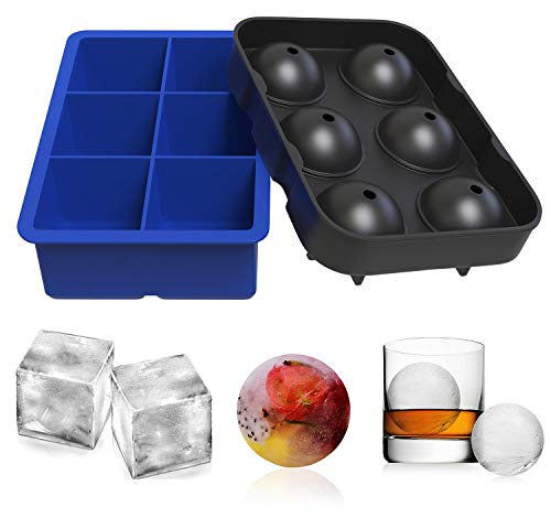 Ouddy 2 Pack Ice Cube Trays, Silicone Combo Round Ice Ball and Large Square Ice Cube Molds with A Funnel for Cocktails, Whiskey ()