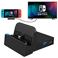 UKOR Nintendo Switch TV Dock, Pocket Switch Charging Dock 4K HDMI USB3.0 Switch Docking Station PD Protocol Avoids Brick Charger Dock Set with Air Outlet Black(Upgraded System)