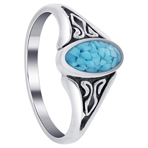 Gem Avenue 925 Sterling Silver Oval Simulated Blue Turquoise Chip Inlay Filigree Design Band Ring Size 7