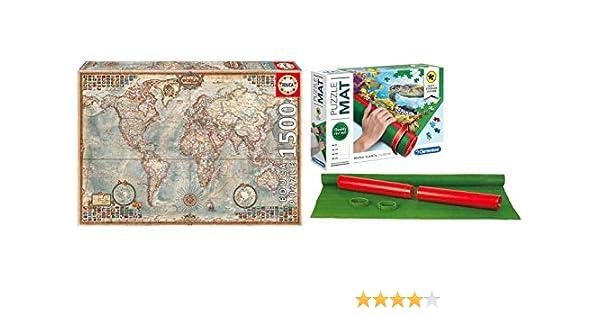 Outletdelocio Pack Puzzle Educa 16005. El Mundo, Mapa Politico. 1500 Piezas + Tapete Universal Puzzle Roll Clementoni: Amazon.es: Juguetes y juegos