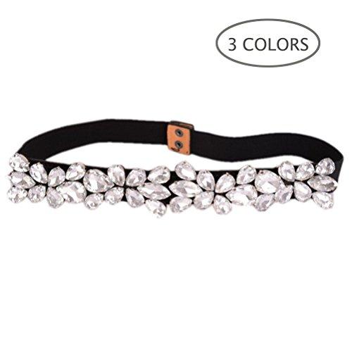 Dorchid Women's Rhinestone Crystal Skinny Belt Floral Cinch Elastic Retro Cummerbunds for Lady Dress Interlock Buckle White L
