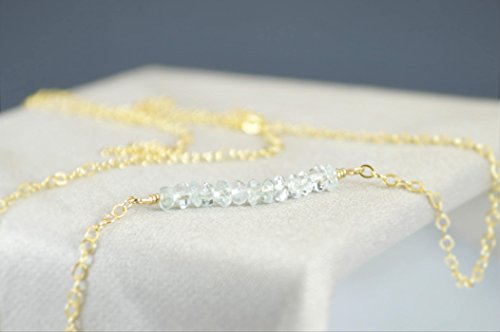 (Aquamarine Gem Bar Necklace(sold individually))