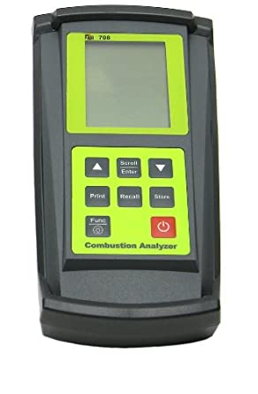 TPI 708OIL Combustion Efficiency Analyzer with Smoke Test Pump, 3 x 1.5V AA Alkaline Batteries, Backlit LCD Display, 14/122 Degree F