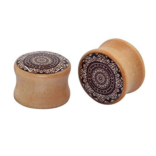 Happy Hours - 1 Pair Natural Brown Wood Hollow Mandala Tunnels Ear Plugs/Body Jewelry Flower Ear Stretcher Expander Ear Piercing(Size: 20mm)