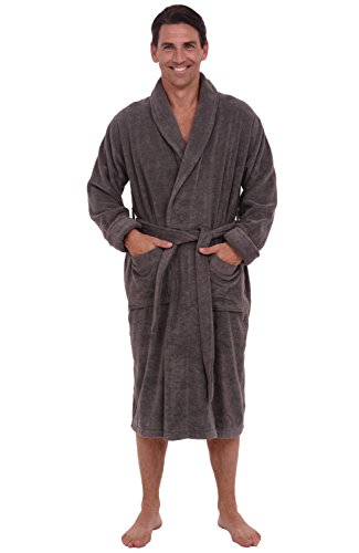 Alexander Del Rossa Mens Turkish Terry Cloth Robe, Thick Bathrobe, 3XL 4XL Steel Grey (A0106STL4X) Tall Terry Cloth Robes