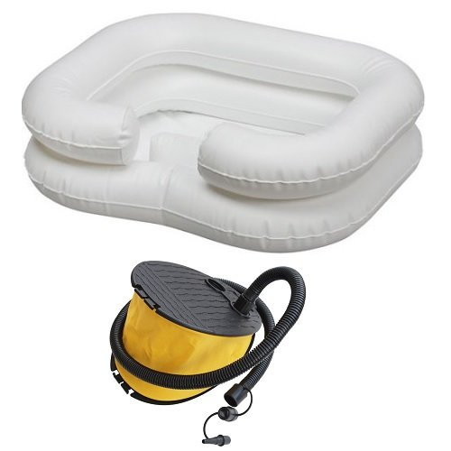 Comfort Aid Inflatable Portable Bed Shampoo Hair Washing Basin with Bellows Foot Pump