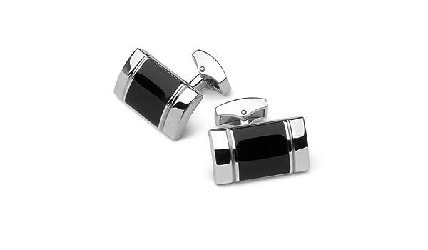 Silver rhodium square cuff links with black striped enamel design