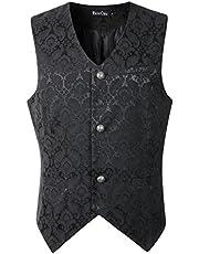 DarcChic Mens Vest Waistcoat Gothic Steampunk Victorian (XXXL Black)
