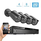 Amcrest HD 1080-Lite 8CH Video Security Camera System w/ 4 720P IP67 Outdoor Cameras, 65ft Night Vision, Hard Drive Not Included, Supports AHD, CVI, TVI, 960H & Amcrest IP Cameras (AMDVTENL8-4B-B)