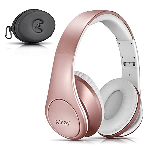 (Over Ear Headphones, Mkay Bluetooth V4.2 Wireless Headset with Deep Bass Microphone Hi-Fi Stereo, Foldable & Lightweight,25H Playtime for Travel Work TV Computer iPhone-Rose Gold)