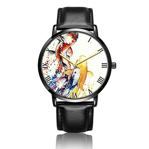 Customized Watercolor Goldfish Wrist Watch, Black Leather Watch Band Black Dial Plate Fashionable Wrist Watch for Women or Men